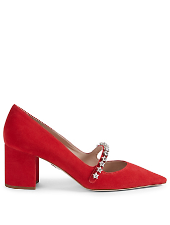 MIU MIU Suede Mary Jane Pumps Womens Red