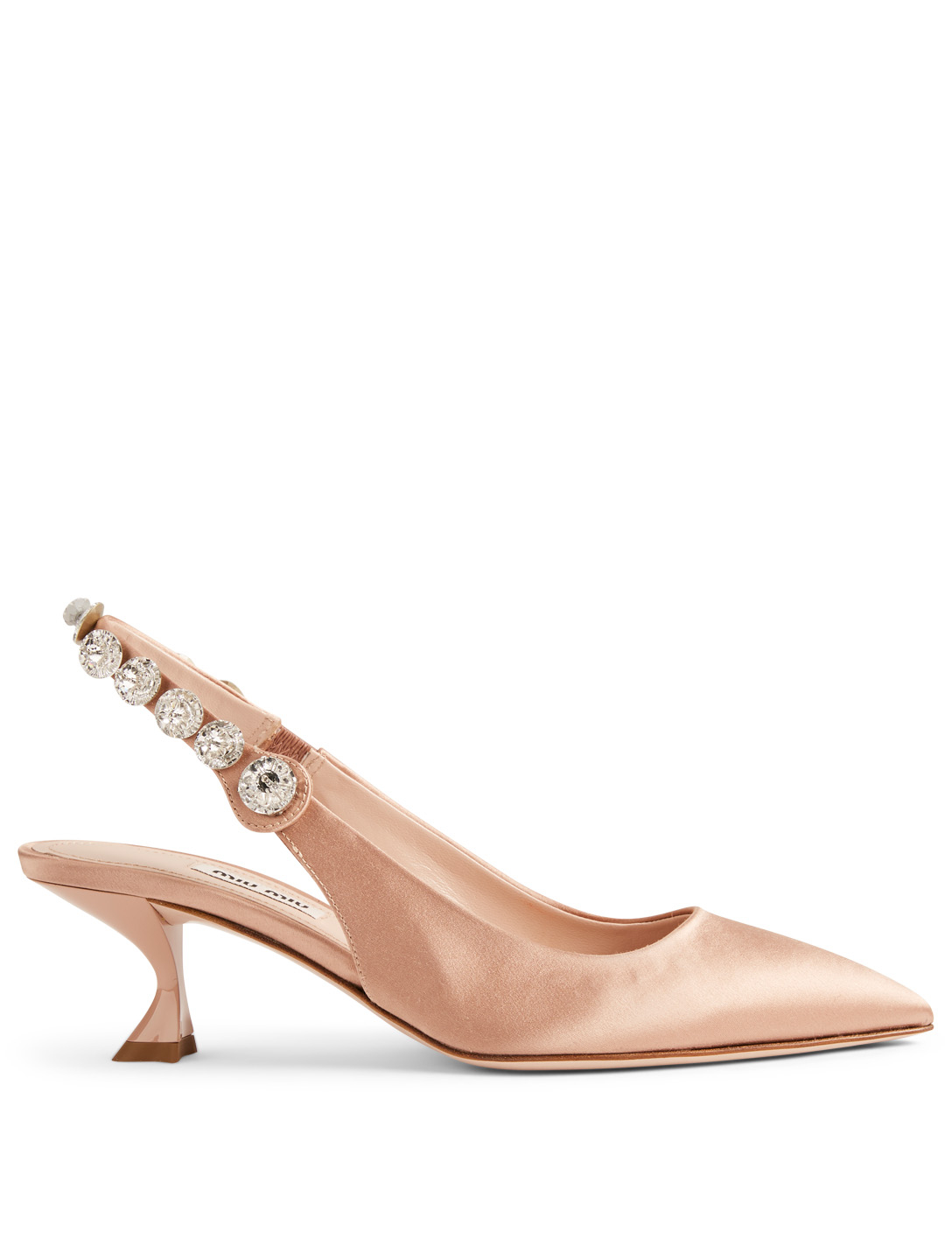847e9aed71 MIU MIU Satin Crystal Slingback Pumps Women's Neutral ...
