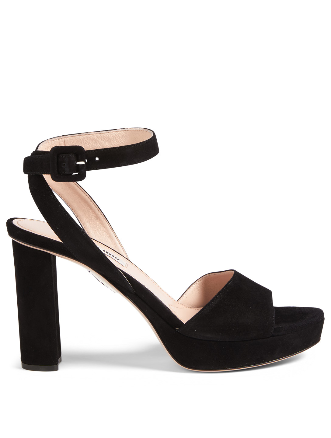MIU MIU Suede Platform Sandals Womens Black