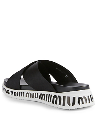 MIU MIU Miu Run Slide Sandals Womens Black