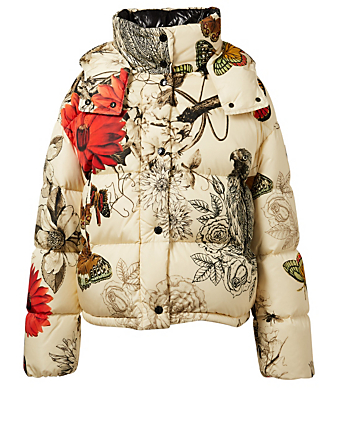 MONCLER Caille Down Puffer Jacket In Floral Print Womens White
