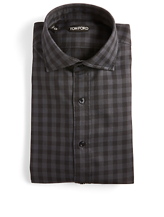 TOM FORD Button-Up Shirt In Check Men's Black