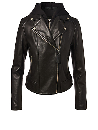 MACKAGE Yoana Leather Jacket With Hood Womens Black