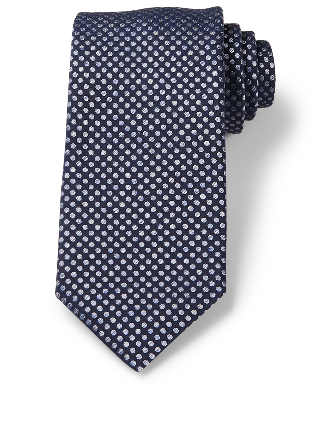CANALI Silk Tie In Polka Dot Men's Blue