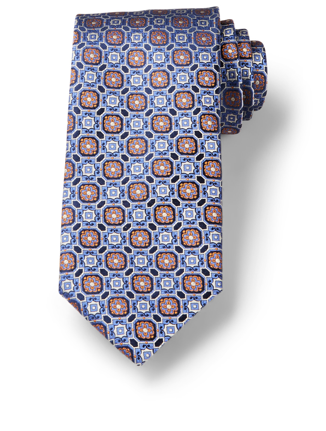 CANALI Silk Tie In Tile Pattern Men's Blue