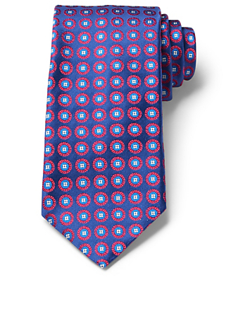 CANALI Silk Tie In Circle Pattern Men's Blue