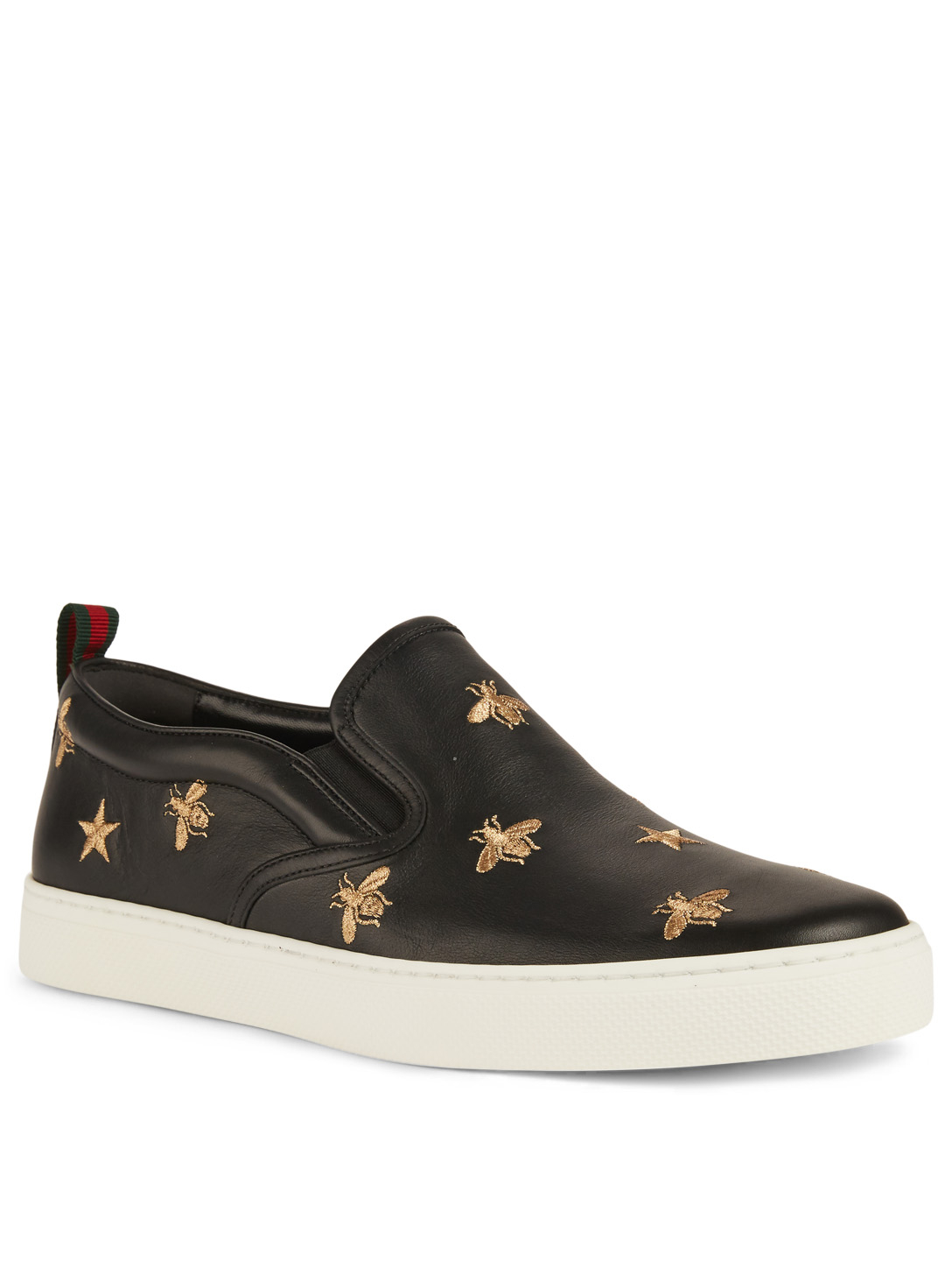 GUCCI Leather Slip-On Sneakers With Bees Designers Black
