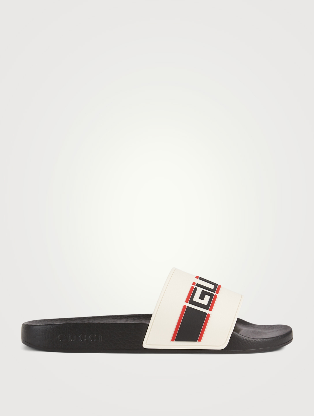 GUCCI Stripe Rubber Slide Sandals Men's White