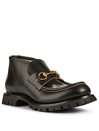 GUCCI Leather Horsebit Loafers Designers Black