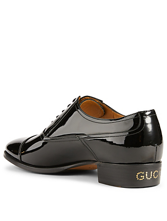 GUCCI Patent Leather Oxfords Designers Black