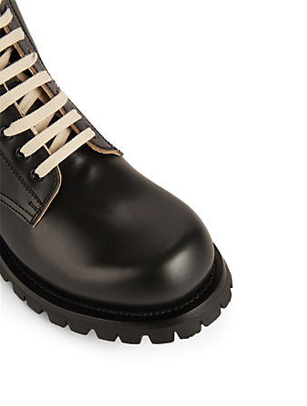 GUCCI Leather Lace-Up Boots With Web Designers Black