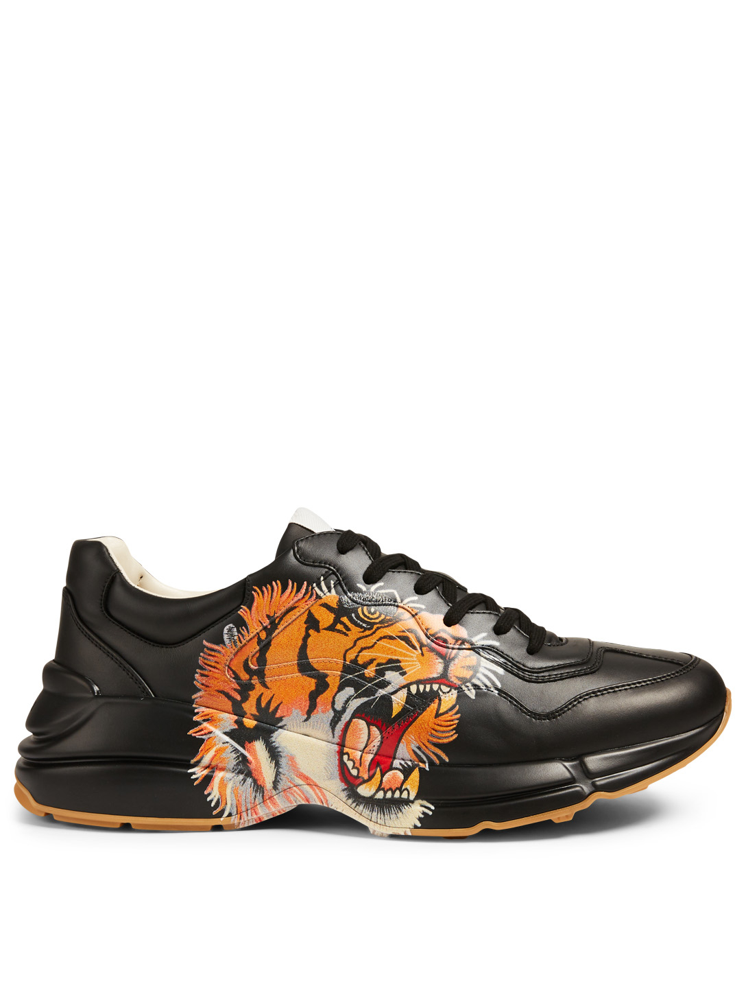 57b7cc8e071 GUCCI Rhyton Leather Sneakers With Tiger Men's Black ...
