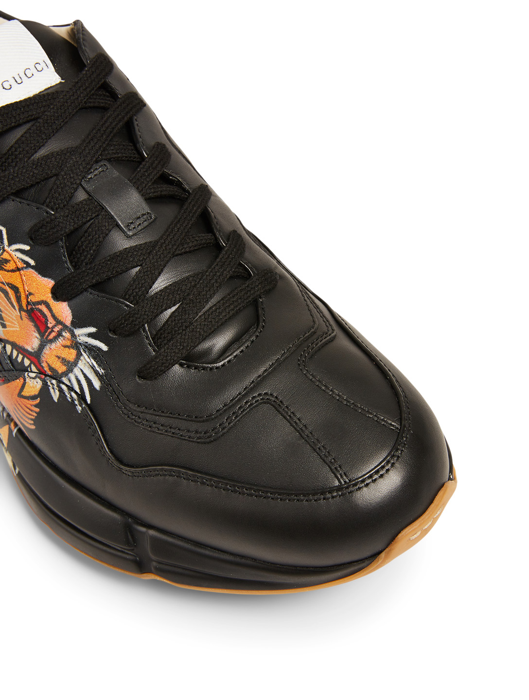 GUCCI Rhyton Leather Sneakers With Tiger Men's Black