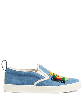 GUCCI Denim Slip-On Sneakers With Gucci Patch Men's Blue