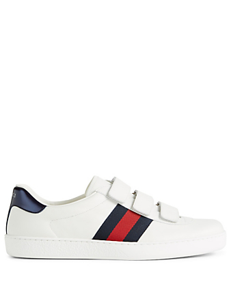 GUCCI Ace Leather Sneakers With Web Men's White
