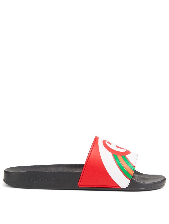 670543082165f6 GUCCI GG Rainbow Slide Sandals