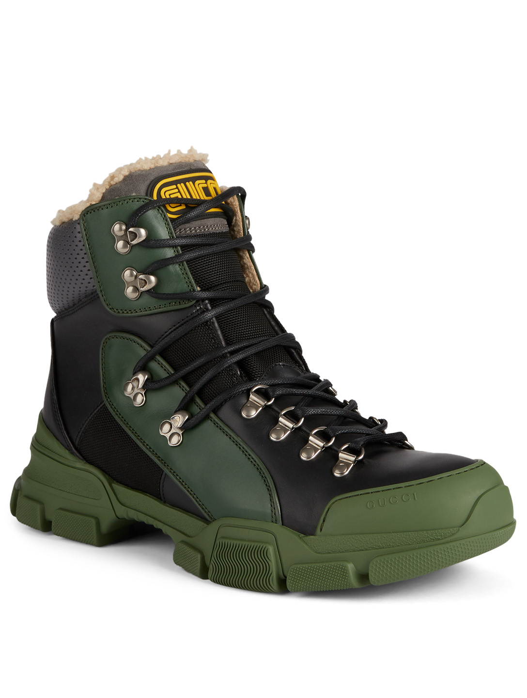 GUCCI Flashtrek Hiker Boots With Wool Designers Green