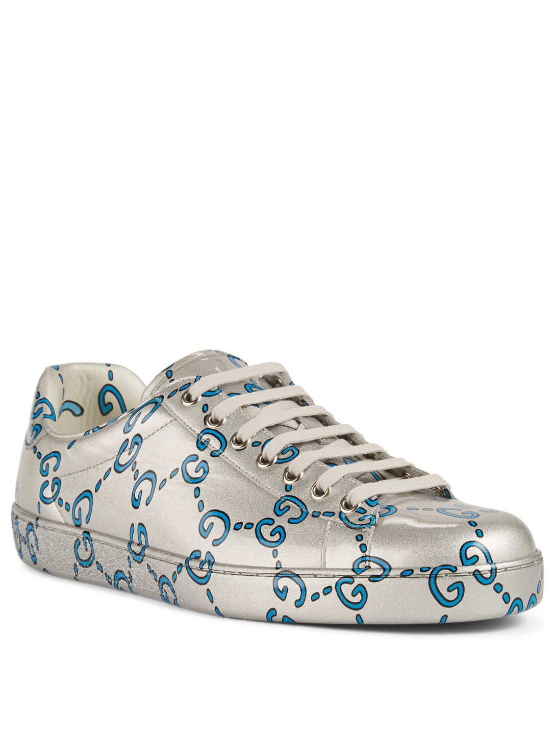 0770aa228 ... GUCCI Ace GG Coated Leather Sneakers Designers Grey ...
