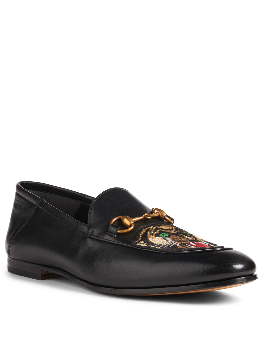 82e9de3ac55 ... GUCCI Brixton Leather Loafers With Panther Patch Designers Black ...
