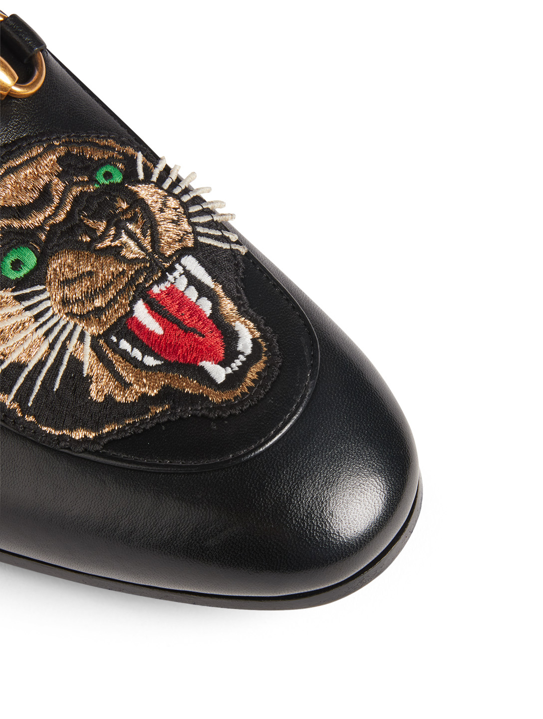 GUCCI Brixton Leather Loafers With Panther Patch Designers Black