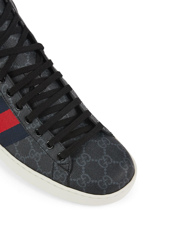 3404ede780b ... GUCCI Ace GG Supreme Canvas High-Top Sneakers Designers Black