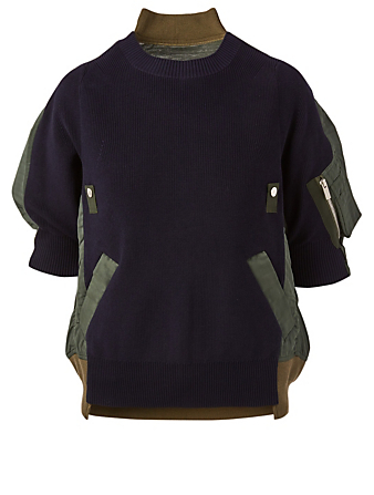 SACAI Mixed Media Uncut Velvet Sweater Women's Blue