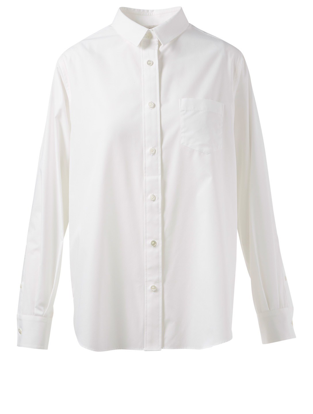 SACAI Button-Up Shirt With Pleated Lace Tulle Back Women's White