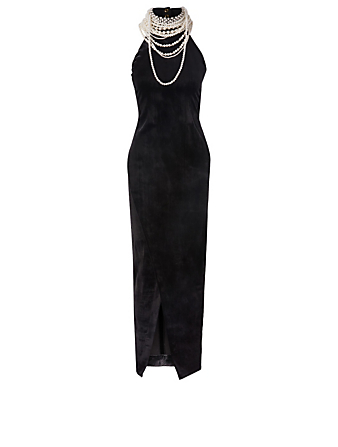 BALMAIN Velvet Halterneck Dress With Pearl Necklace Designers Multi