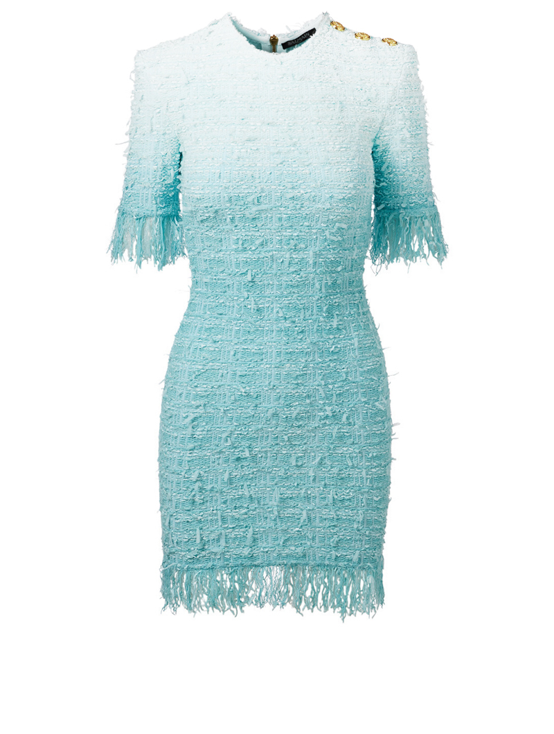 BALMAIN Tie-Dye Tweed Dress With Fringe Women's Blue