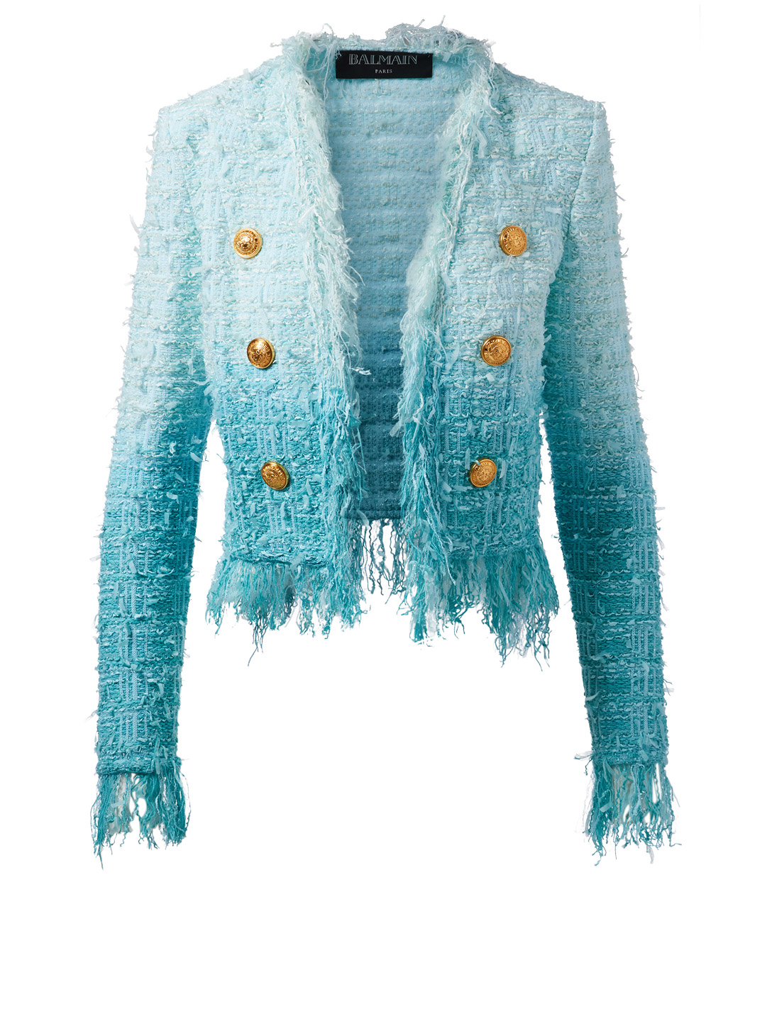 BALMAIN Tie-Dye Tweed Jacket Women's Blue