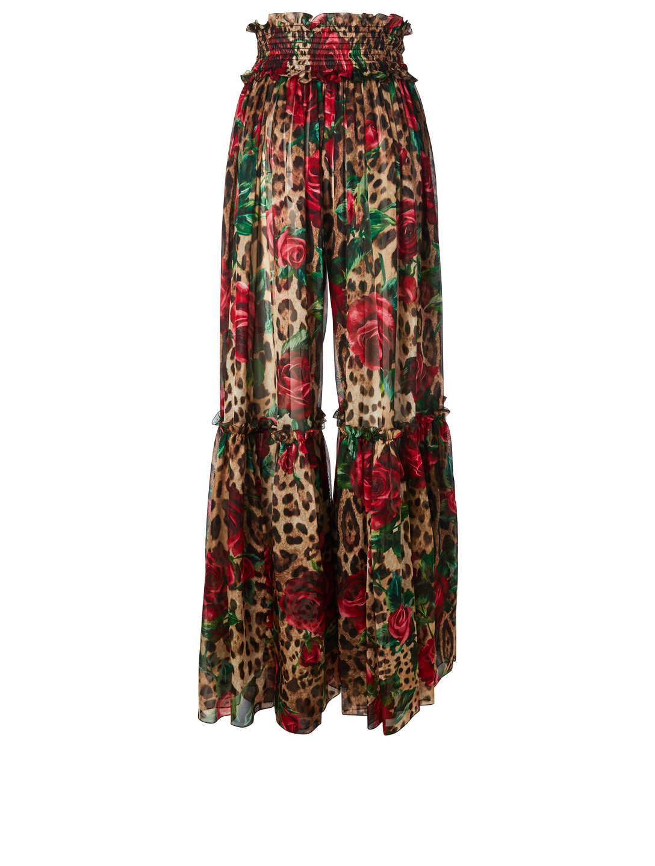 ... DOLCE   GABBANA Silk Wide-Leg Skirt Pants In Leopard Rose Print Womens  Multi 187fc269f