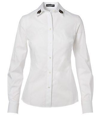DOLCE & GABBANA Button-Up Shirt With Embroidered Collar Women's White