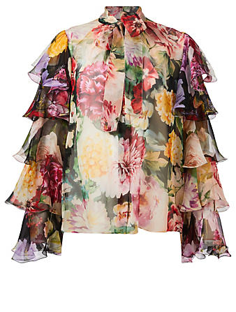 DOLCE & GABBANA Silk Ruffle Sleeve Blouse In Floral Print Womens Multi