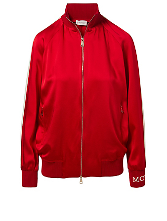 MONCLER Camicia Satin Track Jacket Womens Red