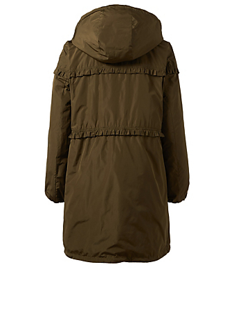 56d3746a423b ... MONCLER Luxembourg Jacket With Ruffle Trim Womens Green ...