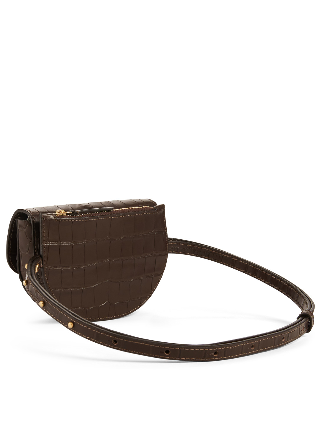 WANDLER Anna Embossed Croc Leather Buckle Belt Bag Womens Brown