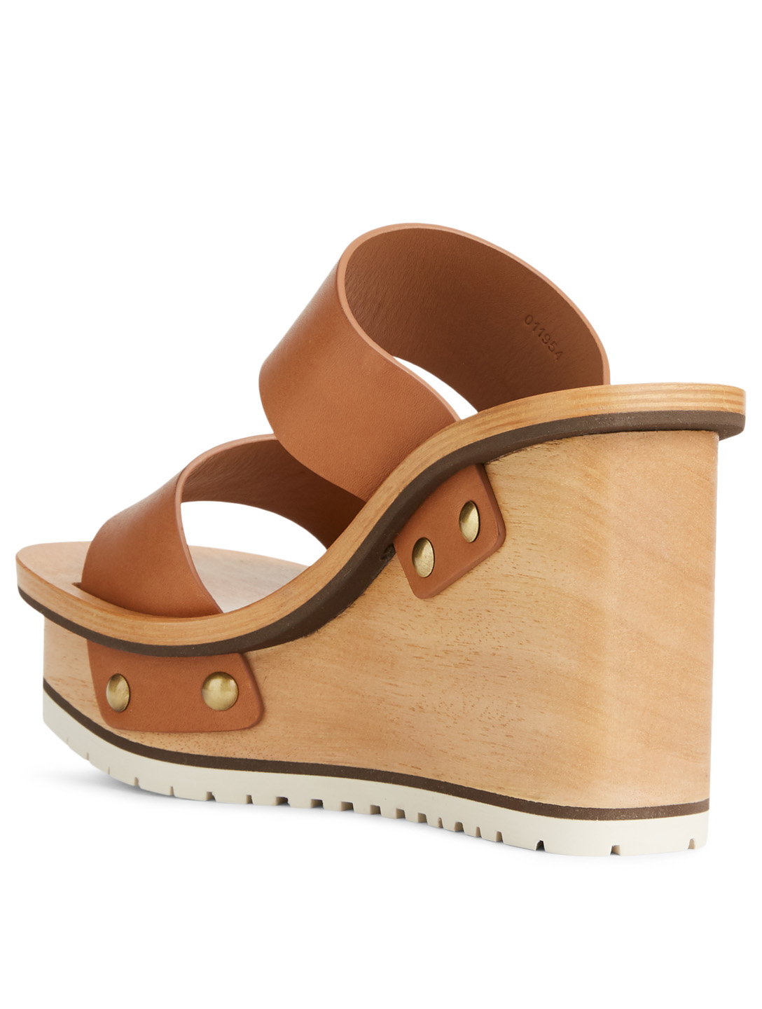 CHLOÉ Valentine Leather And Wood Platform Wedge Sandals Womens Neutral