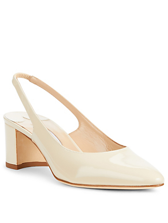 MANOLO BLAHNIK Allurasa Patent Leather Slingback Pumps Womens Neutral