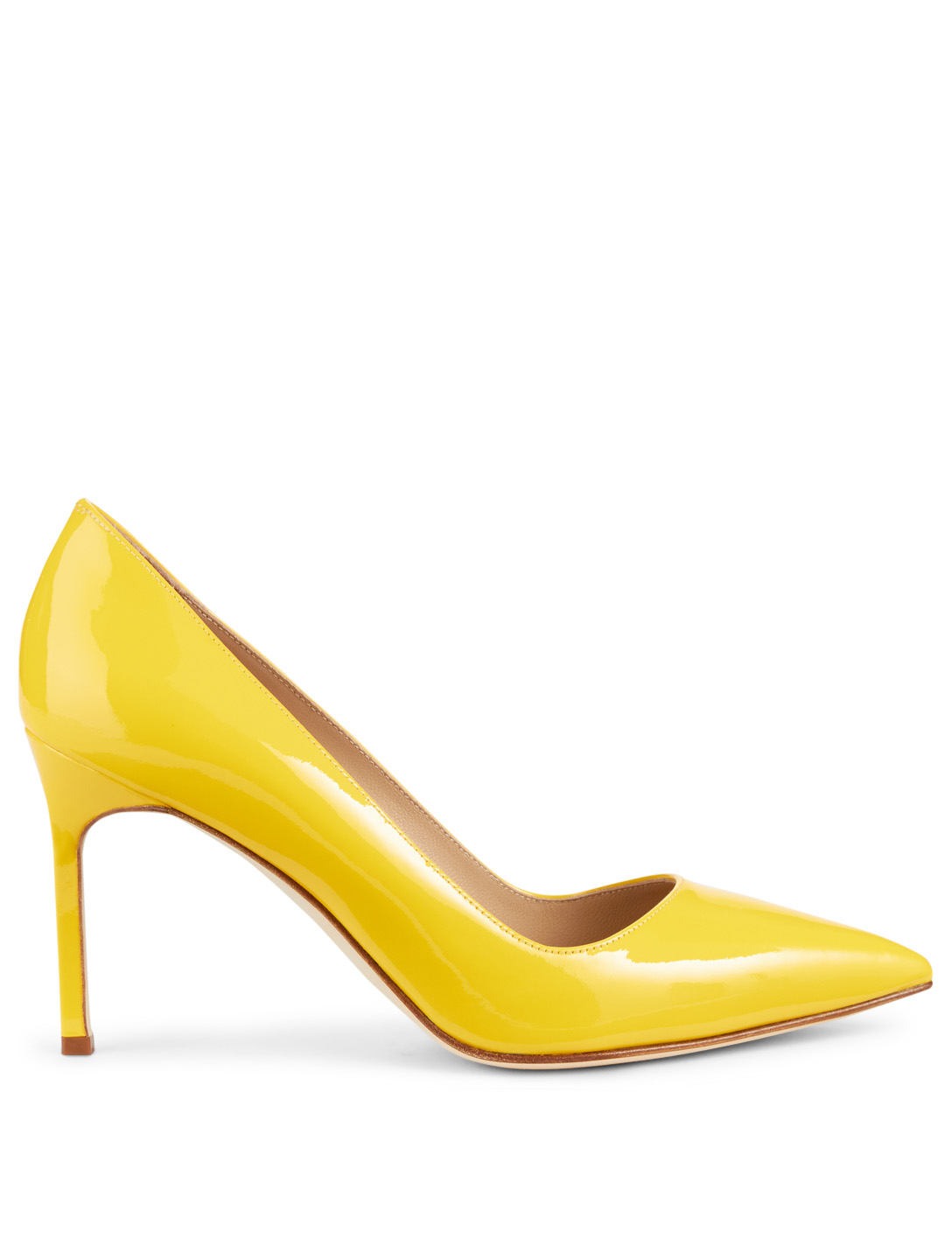 MANOLO BLAHNIK BB 90 Leather Pumps Womens Yellow