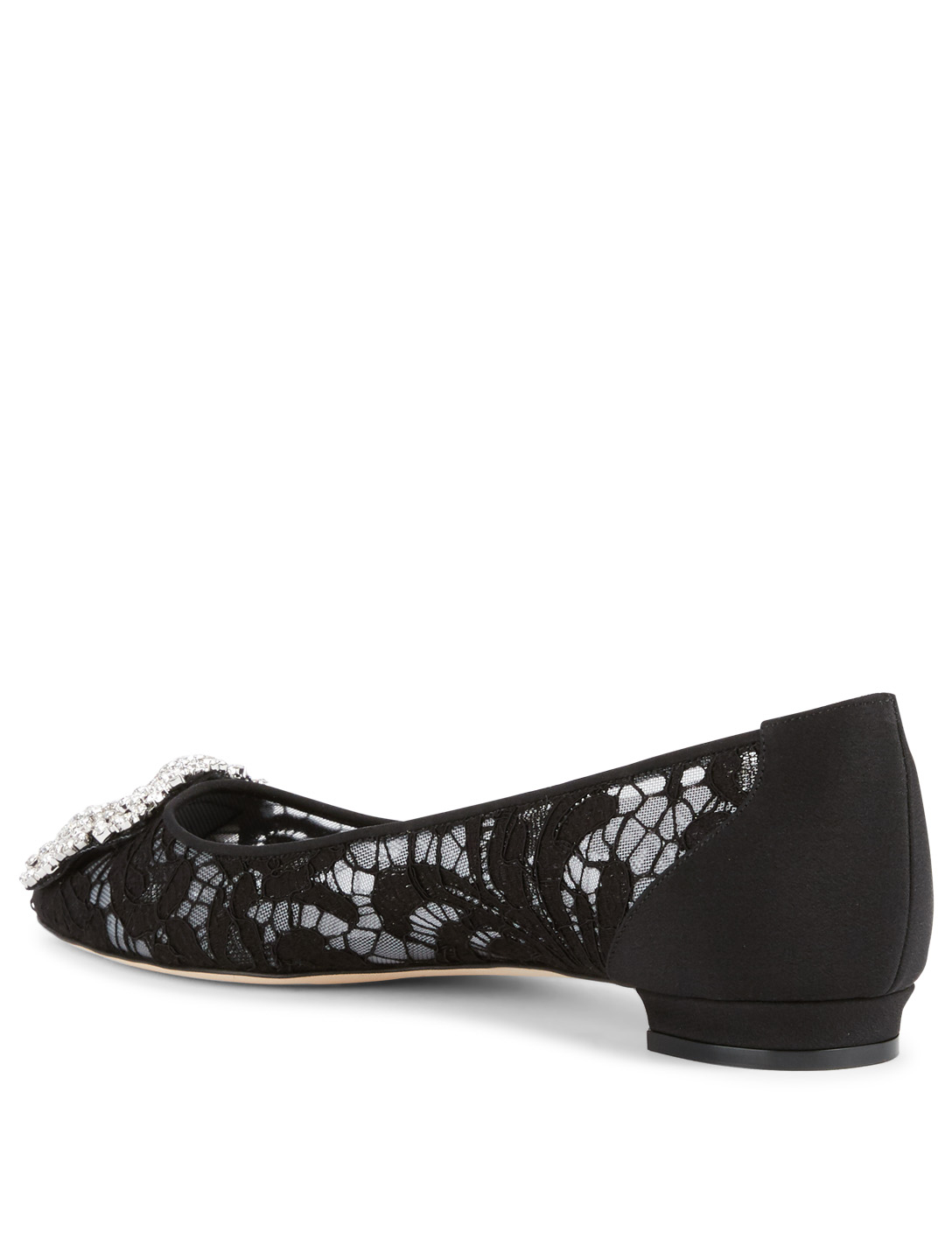 MANOLO BLAHNIK Hangisi Lace Flats With Crystal Buckle Womens Black