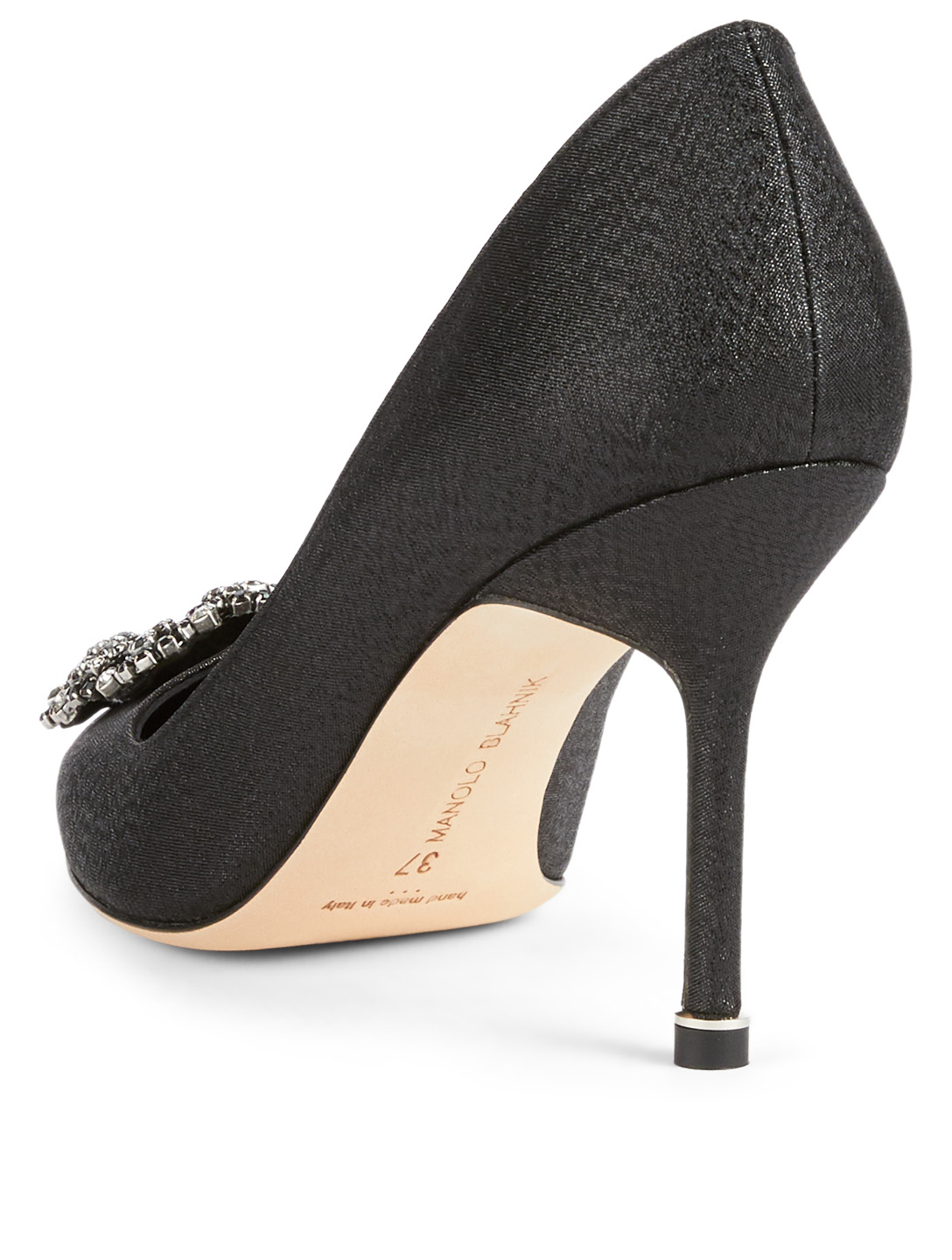 MANOLO BLAHNIK Hangisi 90 Sparkle Pumps With Crystal Buckle Womens Black