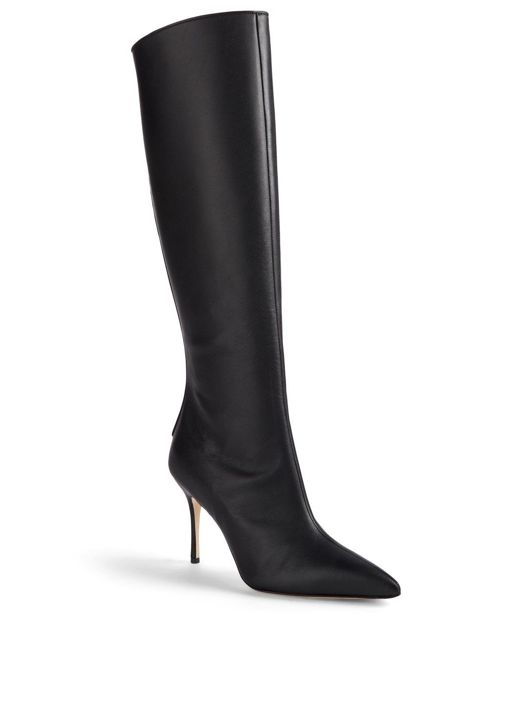 MANOLO BLAHNIK Pascales Leather Knee-High Boots Womens Black