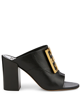 GIVENCHY 4G Leather Mule Sandals Women's Black