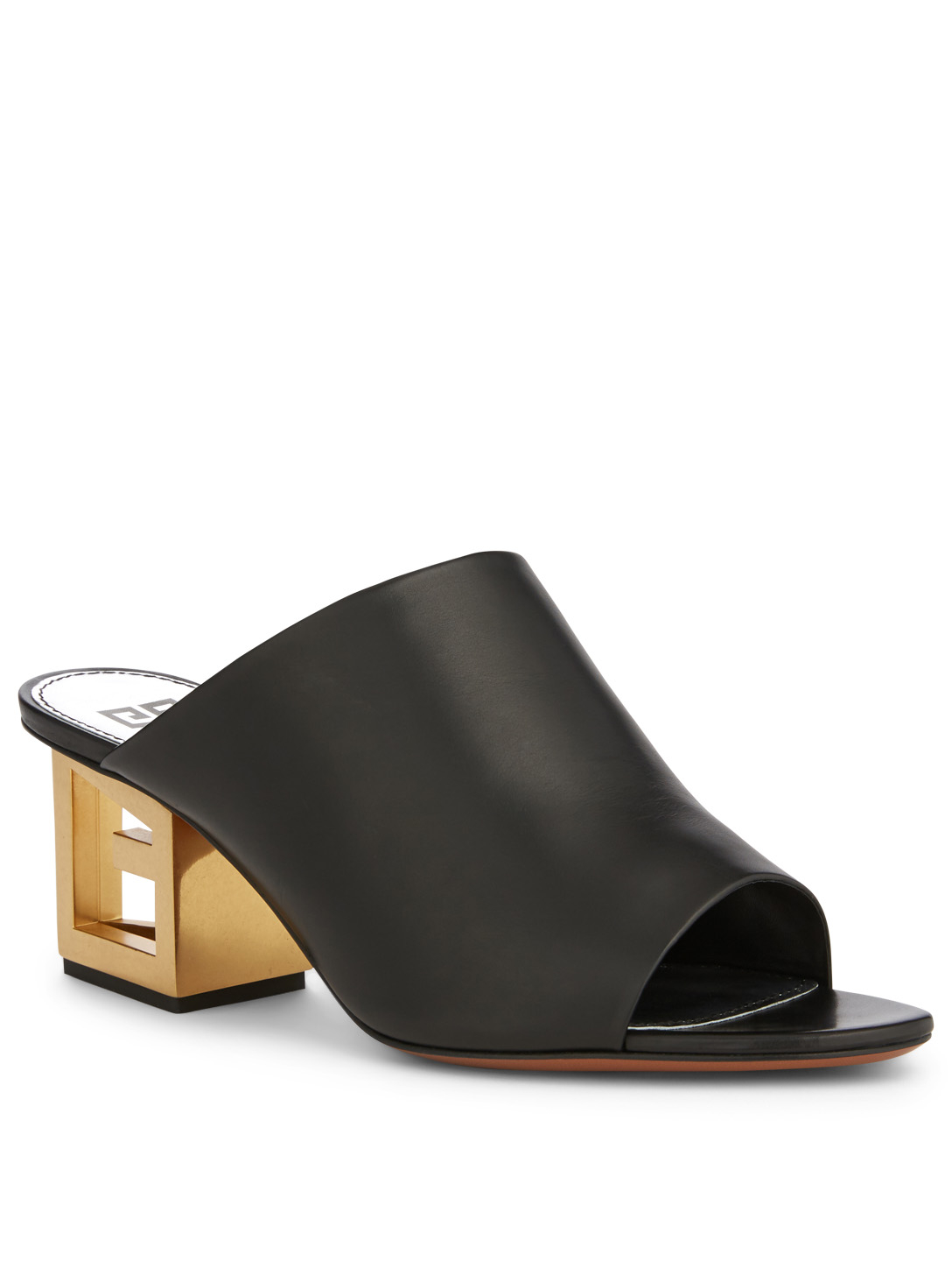 GIVENCHY Leather Mule Sandals With G Heel Womens Black