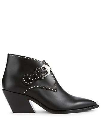GIVENCHY Cowboy Leather Ankle Boots With Studs Womens Black