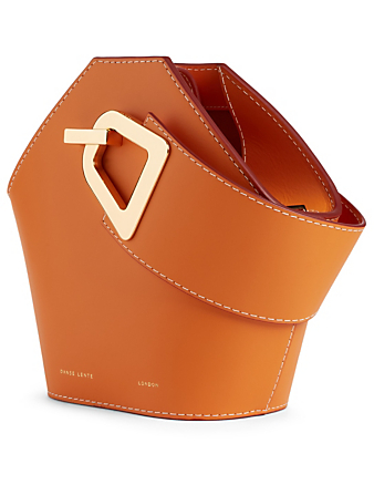 DANSE LENTE Mini Johnny Leather Hexagonal Bucket Bag Womens Orange
