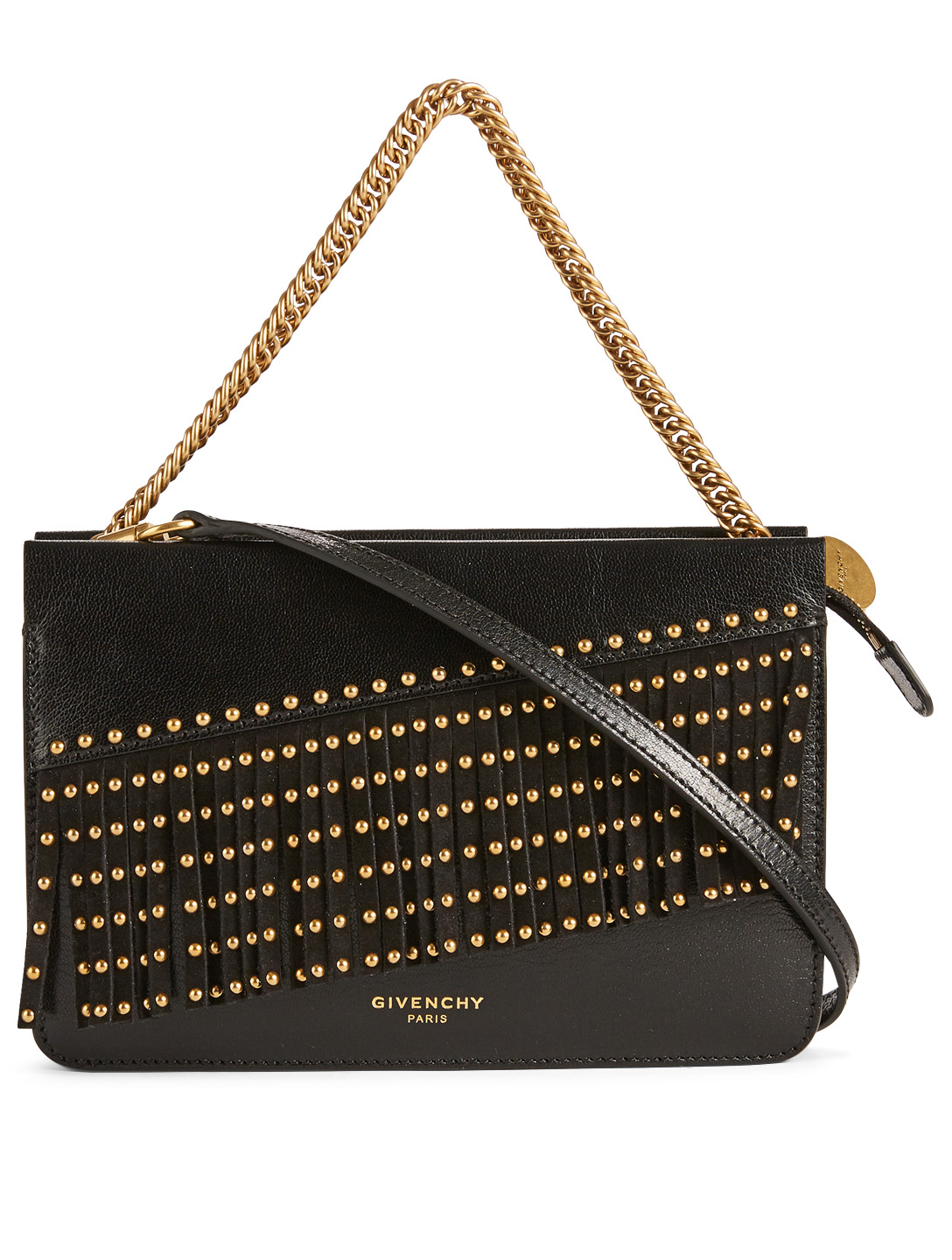 695181a5f229 GIVENCHY Cross 3 Leather Crossbody Bag With Studded Fringe