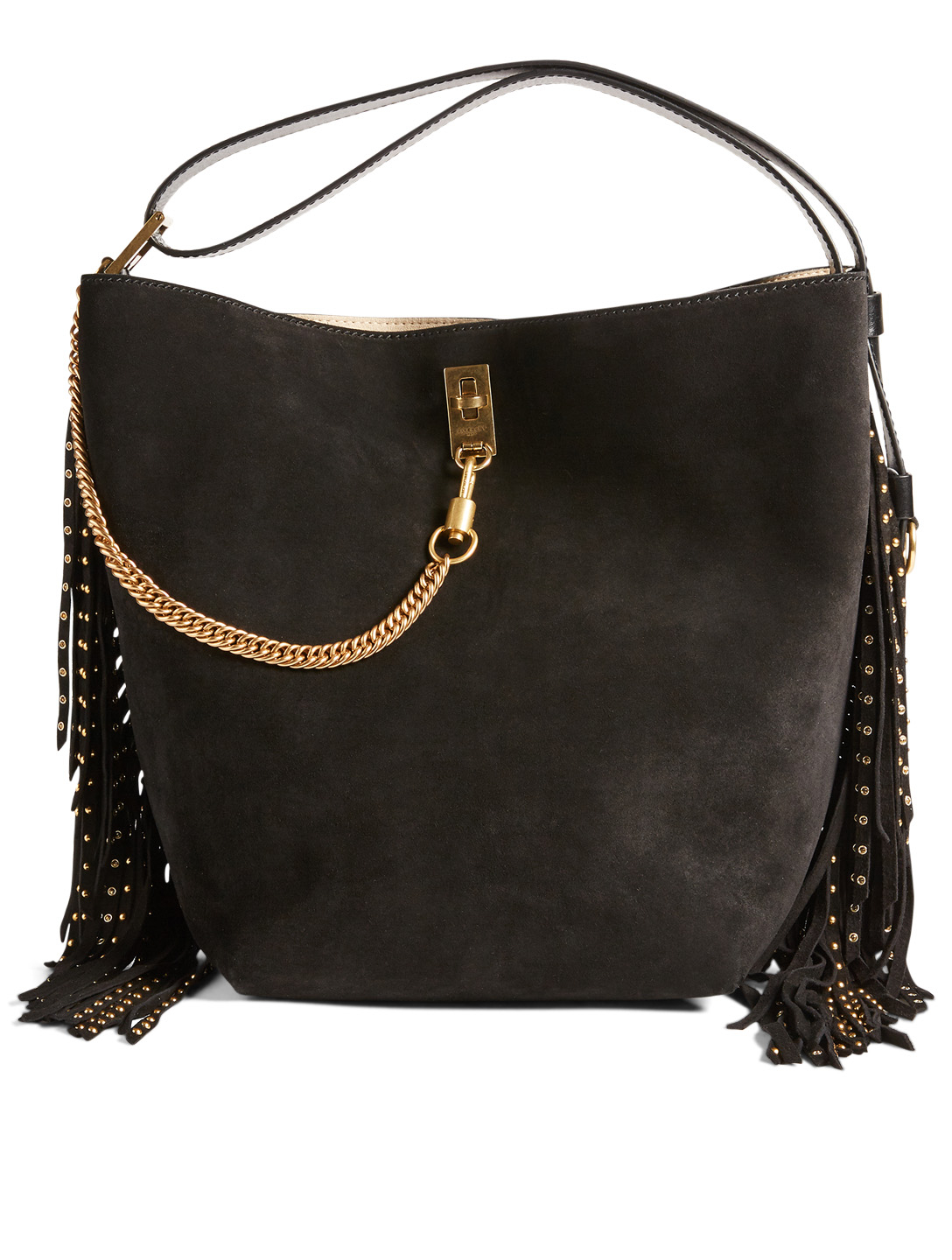 f840c87418 GIVENCHY Medium GV Bucket Suede And Leather Bag With Studded Fringe Women's  Black ...
