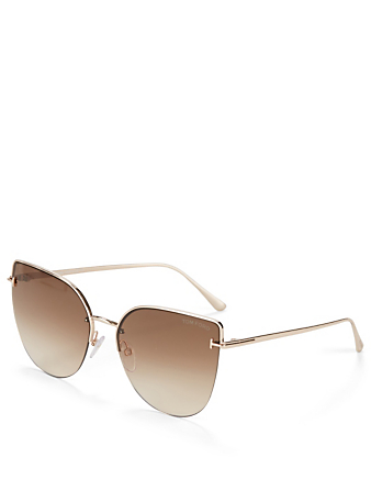 TOM FORD Ingrid Cat Eye Sunglasses Women's Brown