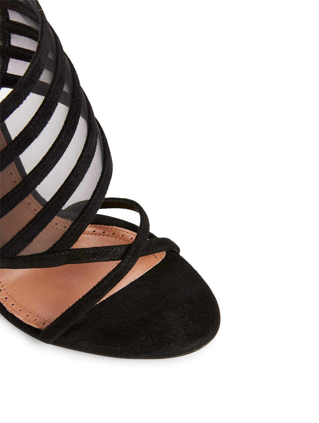 ALAIA Suede And Mesh Heeled Sandals Womens Black
